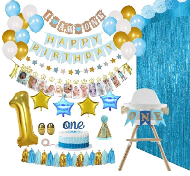 1st BOY Birthday Party Decorations Supplies Banner, Balloons, 1-12 Month Photor Decorations 1