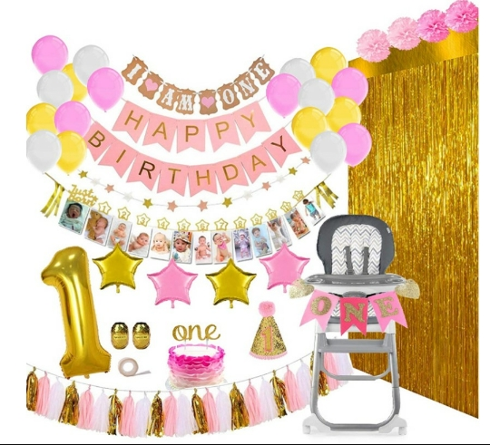 1st girl Birthday Party Decorations Supplies Banner, Balloons, 1-12 Month Photo Decorations 1