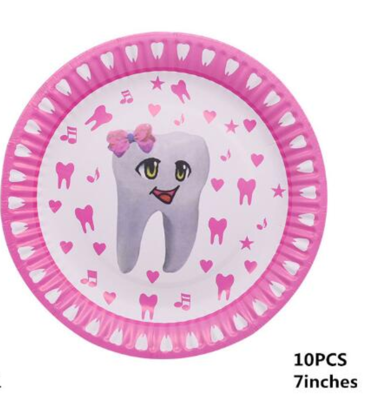 1set Disposable Tableware Paper Plates Cups My First Tooth Theme Party Baby Girl Favor Baby Shower Birthday Party Decor Supplies for 10 persons 2