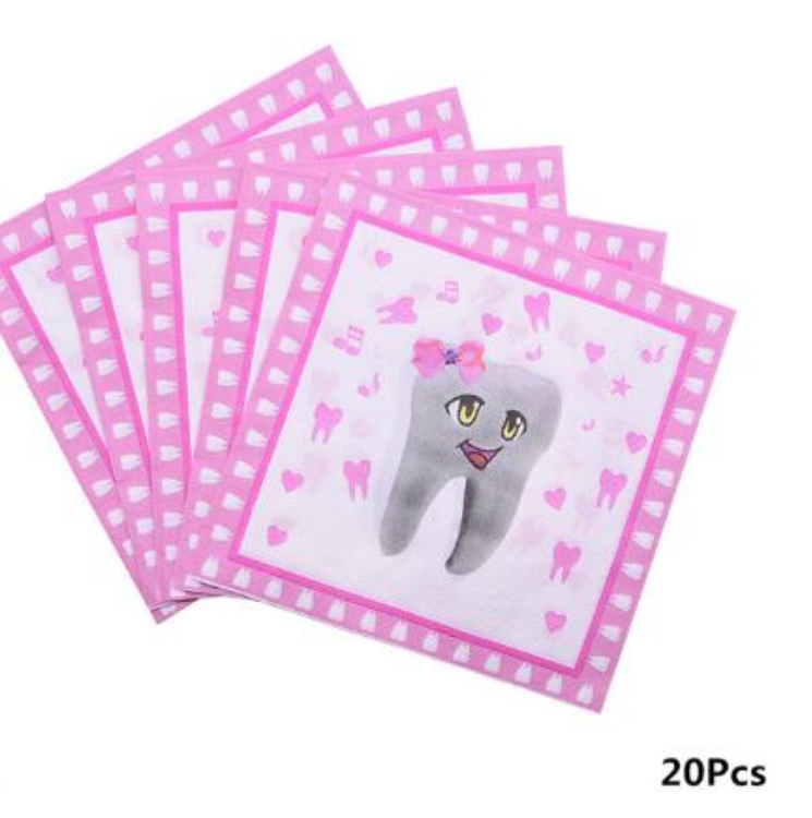 1set Disposable Tableware Paper Plates Cups My First Tooth Theme Party Baby Girl Favor Baby Shower Birthday Party Decor Supplies for 10 persons 4