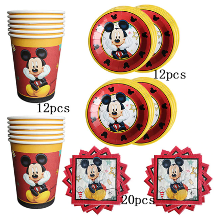 Mickey party red Mickey party tableware set children birthday party supplies decoration ( FOR 12 PERSON ) 1