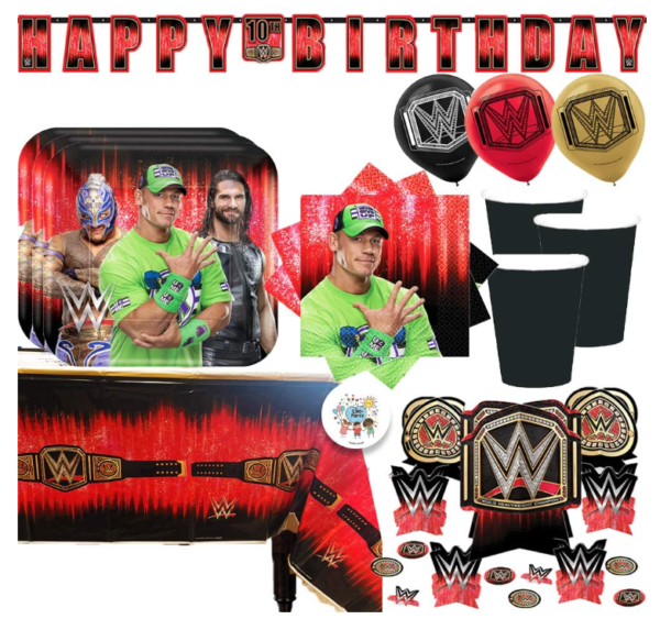 WWE Birthday Party Supplies and Decoration Pack With John Cena WWE Plates, Napkins, Tablecover, Cups, Add An Age Banner, Table Decoration, Balloons, and Pin 1
