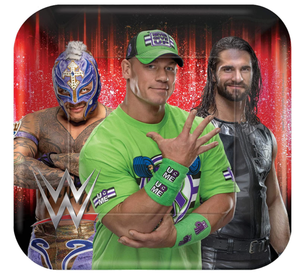 WWE Birthday Party Supplies and Decoration Pack With John Cena WWE Plates, Napkins, Tablecover, Cups, Add An Age Banner, Table Decoration, Balloons, and Pin 2