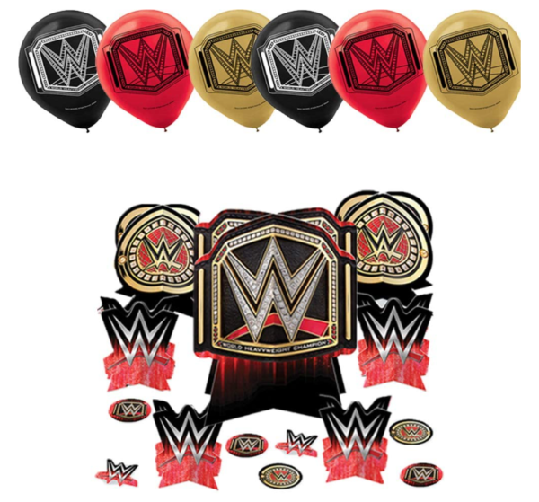 WWE Birthday Party Supplies and Decoration Pack With John Cena WWE Plates, Napkins, Tablecover, Cups, Add An Age Banner, Table Decoration, Balloons, and Pin 5