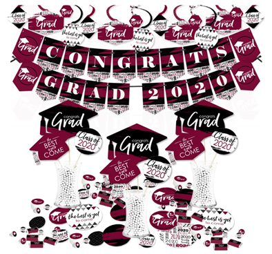 Big Dot of Happiness Maroon Grad - Best is Yet to Come - 2020 Burgundy Graduation Party Supplies - Banner Decoration Kit - Fundle Bundle 1