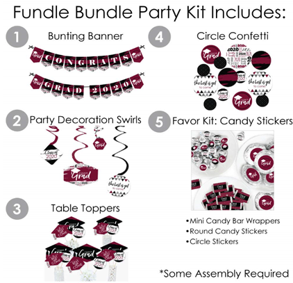 Big Dot of Happiness Maroon Grad - Best is Yet to Come - 2020 Burgundy Graduation Party Supplies - Banner Decoration Kit - Fundle Bundle 3