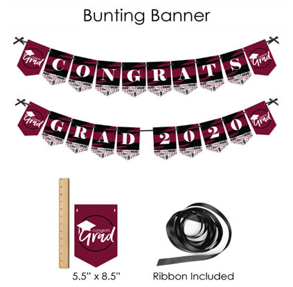 Big Dot of Happiness Maroon Grad - Best is Yet to Come - 2020 Burgundy Graduation Party Supplies - Banner Decoration Kit - Fundle Bundle 4