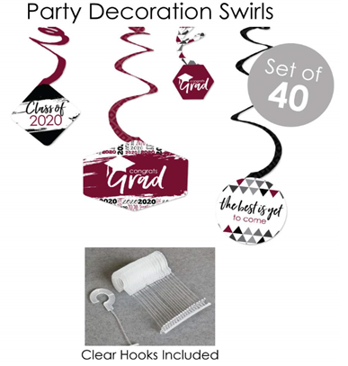 Big Dot of Happiness Maroon Grad - Best is Yet to Come - 2020 Burgundy Graduation Party Supplies - Banner Decoration Kit - Fundle Bundle 5