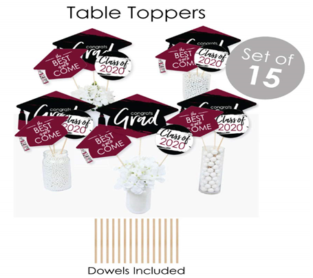 Big Dot of Happiness Maroon Grad - Best is Yet to Come - 2020 Burgundy Graduation Party Supplies - Banner Decoration Kit - Fundle Bundle 6