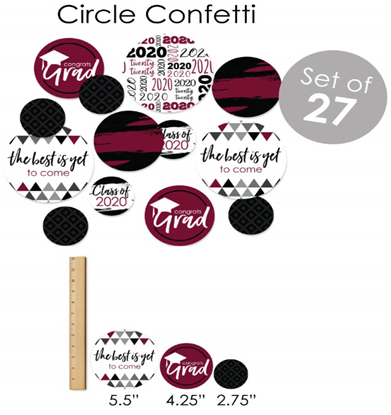 Big Dot of Happiness Maroon Grad - Best is Yet to Come - 2020 Burgundy Graduation Party Supplies - Banner Decoration Kit - Fundle Bundle 7