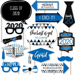 Big Dot of Happiness Blue Grad - Best is Yet to Come - Royal Blue 2020 Graduation Party Photo Booth Props Kit - 20 Count 1