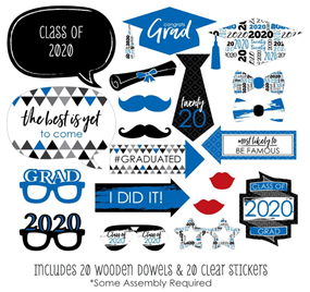 Big Dot of Happiness Blue Grad - Best is Yet to Come - Royal Blue 2020 Graduation Party Photo Booth Props Kit - 20 Count 2